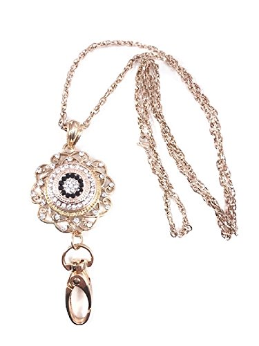 (Pizazz Studios 32 Inch Rose Gold ID Badge Holder Lanyard Necklace with Snap Charm)