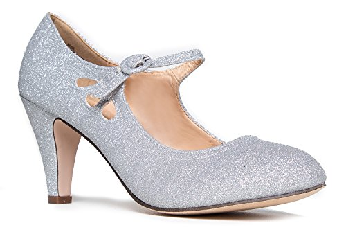 Pixie Mary Jane Heel, Silver Glitter, 7.5 B(M) US]()