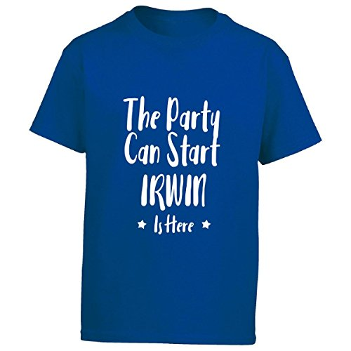 The Party Can Start Irwin Is Here - First Name - Boys T-shirt Kids Xl Royal