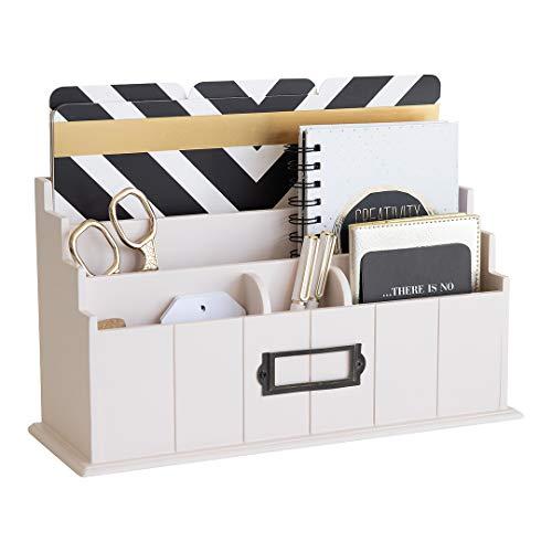 Blu Monaco Light Pink Wooden Mail Organizer - 3 Tier Light Blush Pink Desk Organizer - Rustic Country Mail Sorter - Kitchen Countertop Organizer Mail Basket