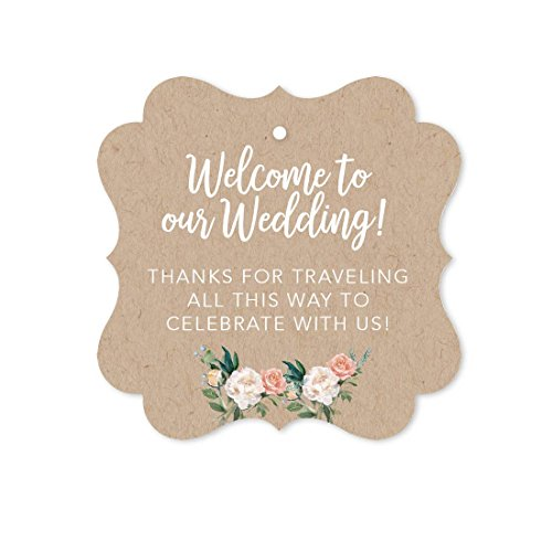 Andaz Press Out of Town Bags Fancy Frame Gift Tags, Welcome to Our Wedding Thanks for Traveling to Celebrate with Us, Kraft Brown Tan, 24-Pack, for Destination OOT Gable Boxes