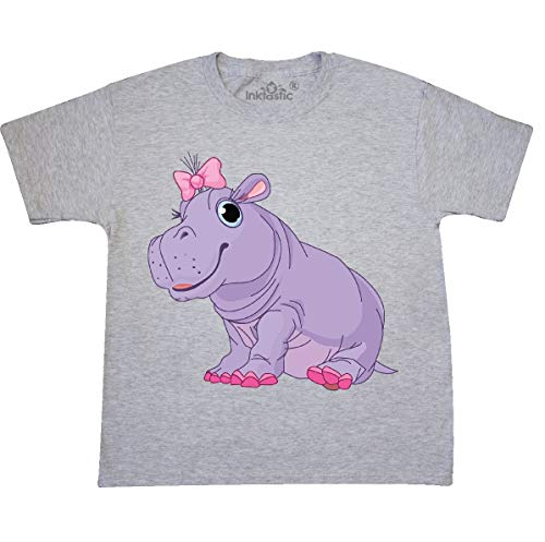inktastic Cute Purple Hippo Youth T-Shirt Youth Large (14-16) Ash Grey