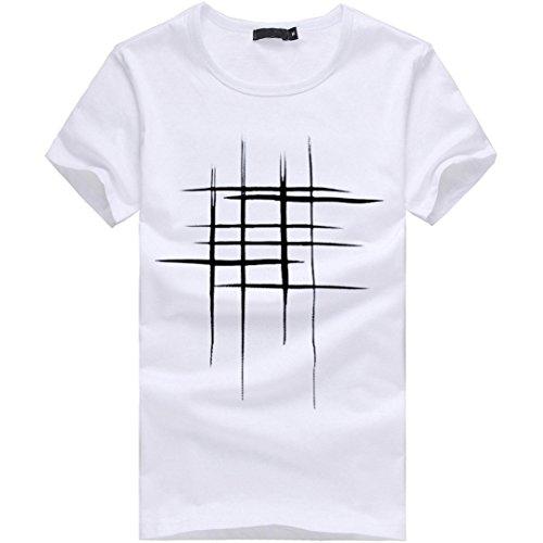 Price comparison product image Men Short Sleeve T Shirt, Vanvler Male Line [ Print Tops ] Teen Boys Cotton Blouse (M,  White)