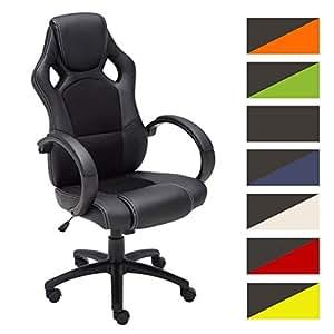 CLP Silla de oficina FIRE. Silla de escritorio con altura regulable 49 - 59 cm. Silla Gaming con diseño deportivo y asiento giratorio 360°. el tapizado de la silla Gaming Fire es de cuero sintético. negro