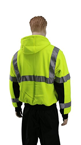 Brite Safety Style 5010 Hi Viz Sweatshirts for Men or Women | Safety Hi Vis Hoodie, 2-Tone Sweatshirt | Thermal Liner, Full Zip 16oz, with 3M Reflective Tape | ANSI 107 Class 3 (4XL) by Brite Safety (Image #1)
