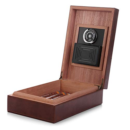Leather Humidor - MEGACRA Cedar Cigar Humidor, Leather Cigar Box with Hygrometer and Humidifier Portable Travel Cigar Humidor Holds 10-20 Cigars