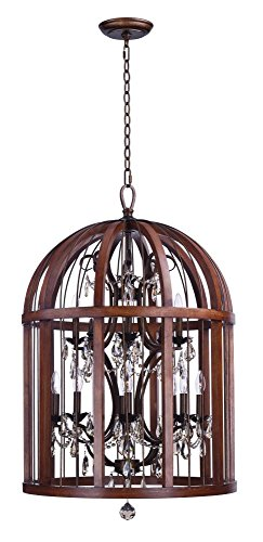Maxim 32516APBY, Miranda Incandescent Single Pendant, 12 Light, 60 Watts, Antique Pecan and Bay