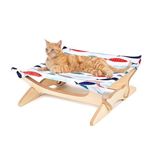 (Hide on bush Cat Hammock Cat Bed Window Perches Cat, Cat Seat Bed Hammock Space Saving Design with Cat Shelves All Around 360° Sunbath,Square Mat Four-Pointed Cat Hammock Wooden Removable (C))