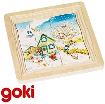 Goki Juego de mesa PUZZLE DE MADERA Modelo LAS 4 ESTACIONES 4 imagenes de 12 piezas Niños +4 años: Amazon.es: Juguetes y juegos