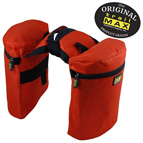 TrailMax Large Horse Saddle Bags for Trail Riding, Double-Stitched, 600-Denier Weather- & UV-Resistant PVC-Coated Poly, Orange