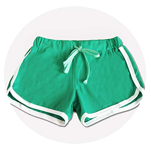 Summer Women Shorts Leisure Elastic Waist Women Shorts Female Casual Yo-Ga Short Feminino,Green,L