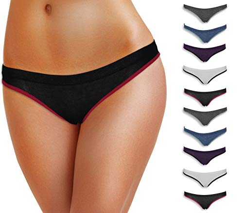 Emprella Women Underwear, 10 Pack Womens Cotton Stretch Bikini Panties for Ladies
