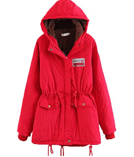 Maniche Red Con Women Giacca Warm Winter Lunghe Parka Outwear A Bigood Coat Cappuccio 78qAqnY