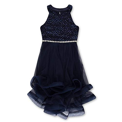 (Speechless Girls' Big 7-16 Tween Sparkle Waist Party Dress with Wide Ribbon Hem, New Navy)
