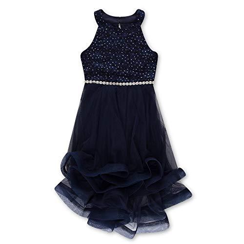 Speechless Girls' Big 7-16 Tween Sparkle Waist Party Dress with Wide Ribbon Hem, New Navy, 14