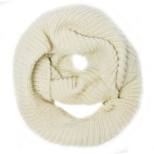 Wrapables Thick Knitted Winter Warm Infinity Scarf Cream
