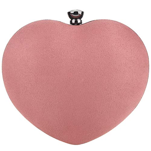 Fawziya Heart Shaped Clutch Velvet Evening Bags And Clutches For Women-Cocoa Brown