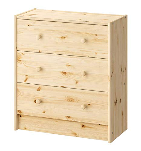 IKEA 3 Drawer Solid Pine Chest Dresser Storage Organizer Wall Shelve