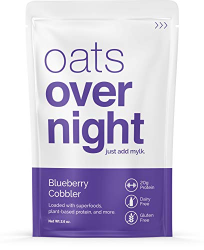 Oats Overnight Dairy-Free - Blueberry Cobbler - Premium High-Protein, Low-Sugar, Gluten-Free, Vegan Oatmeal (2.6oz per pack) (12 Pack)
