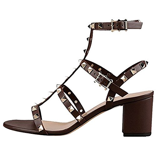 Slingback Out Dress Heels Sandals Comfity Women Strappy Studded Rivets Sandals for Shoes Cut Block 5cm Gladiator Brown 87wqxTSO