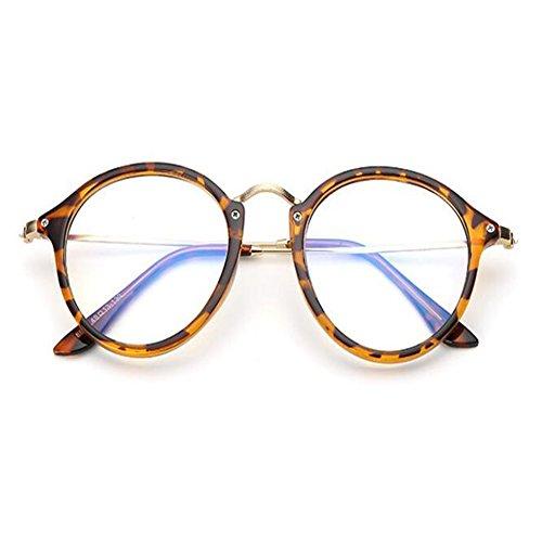 mujer FuyingdaHombre vendimia de de clara redondos vidrios Lente ópticos Marco la Leopardo qTHwdq1CF