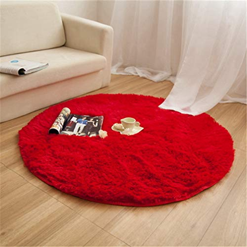 MOXIC Solid Round Area Rugs Soft Shag Living Room Bedroom Children Rug Anti-Slip Plush Carpet Bathroom Mats Circular Modern Home Decorate Nursery Runners Red 5' X 5'