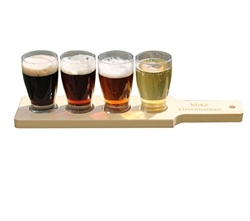 Customized Beer Flight Taster Set Paddle with Glasses - Natural Finish - 1 Line of Engraving - Personalized Wedding Groomsman Gift Monogrammed for Free