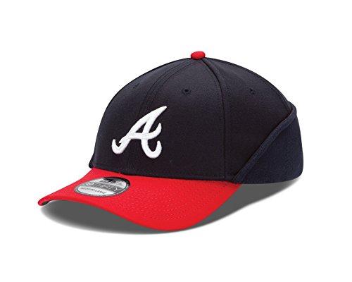 (MLB Atlanta Braves Authentic Collection Downflap 39Thirty Flex Fit Cap, Blue, Medium/Large)
