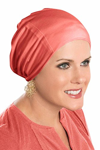 - Cardani Cozy Cap Slouch Hat | Slouchy Cancer Beanie Hats Luxury Bamboo - Coral