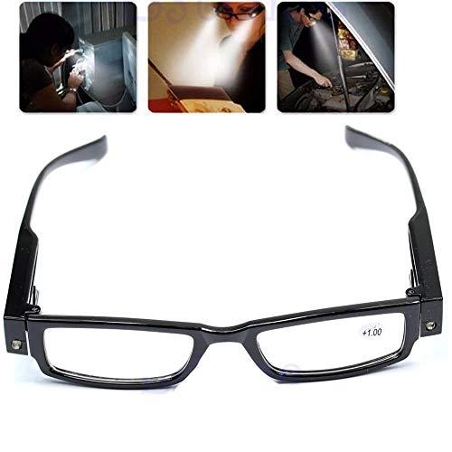 Happy Hours - Ultra Bright Dual LED Lighted Up Map Book Readers Reading Black Full Frame Eye Glasses Eyeglass Spectacle Diopter Magnifier Light Up Presbyopic Glasses Touch Switch Hand Free + Batteries
