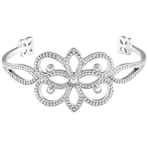 14K White Gold Granulated Cuff Bracelet