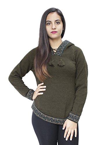 Alpaca Wool Womens Sweaters (Womens Hoodie Soft And Warm Alpaca Wool Knitted Hooded Sweater - Shakira Design (M, Leaf)