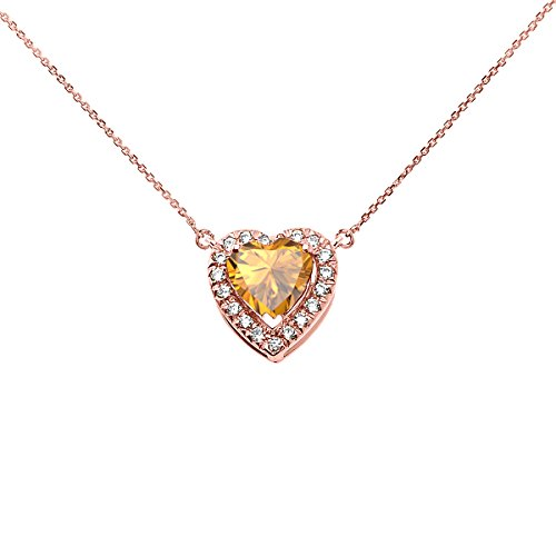 14k Rose Gold Diamond and November Birthstone Citrine Heart Solitaire Necklace, 16