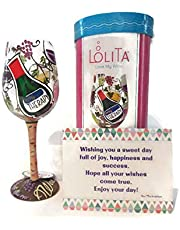 "Lolita\""My Therapy\"" Wine Glass Hand Painted - Best Birthday Gift for Women, Best Friend, Sassy Girl, Fun Birthday Gifts"