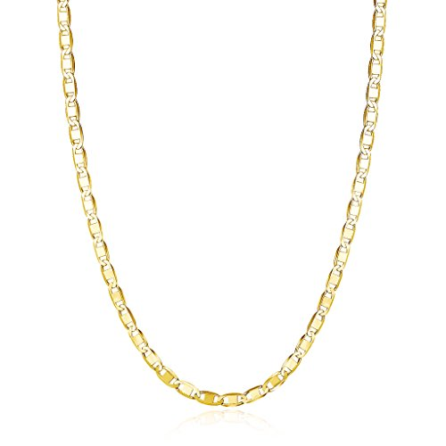 Gold Chain Choker (Gold over Sterling Silver Choker Necklace Mariner Chain 13