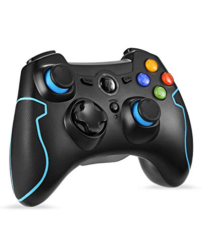 Twisted Wire Mouthpiece - Wireless Controller, EasySMX 2.4 G PC PS3 Gamepads with Vibration Fire Button Range up to 10m Support PC (Windows XP/7/8/8.1/10), PS3, Android, Vista,TV Box Portable Gaming Joystick Handle