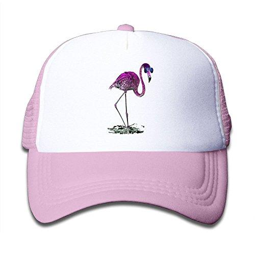 Kkidj Ooii Mesh Baseball Caps Boy&Girls Youth Snapback Hats Purple Flamingo - Glass Sun Hutt