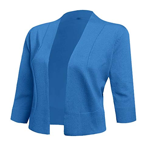 AAMILIFE Women's 3/4 Sleeve Cropped Cardigans Sweaters Jackets Open Front Short Shrugs for Dresses Blue S