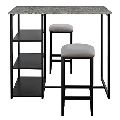 Dorel Living Farley 3-Piece Pub Set with Faux Concrete Top, Gray / Black ()