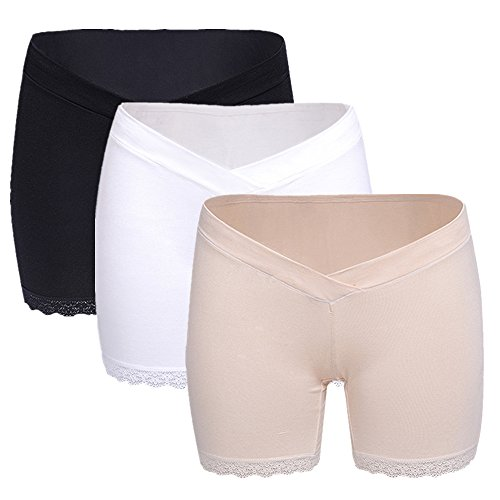 Tremour Women's 3 Pack Under The Bump Maternity Panties Cotton Underwear Black White Beige L by Tremour