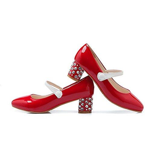 Amoonyfashion Kvinnor Lackläder Dra På Kvadrat Stängd Tå Kattunge Klackar Pumpar-skor Röda