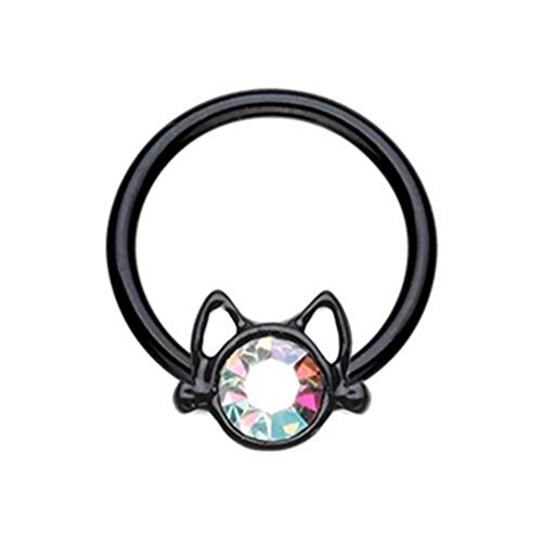 Cat Face Steel CBR Hoop Captive Bead Ring 16 Gauge (Black-16G 5/16
