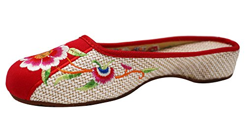 Icegrey Women's Florl Love Bird Embroidered Slip On Clogs Beige/Red UNi5xoc