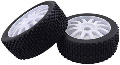 2本 タイヤ & ホイールリム セット ゴム製 RCかー用 1/8 RCトラックバギー用 交換 全3色 - 白