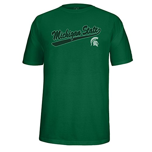 NCAA Michigan State Spartans Adult Unisex School Name Script Tail Logo Choice Tee, XX-Large, Green