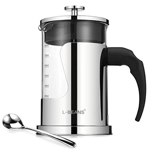 French Press Coffee Maker with High Borosilicate  Glass and 304 Grade Stainless Steel 28 Oz For 6 Cups 800 ml French Press Coffee Machine L-BEANS