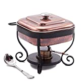 Old Dutch 384AC 11.5'' x 10.25'' x 9.5'' Copper Dish & Stainless Steel Spoon, 3 Qt. Chafing Dish one size Antique