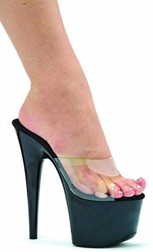 7 Inch Pointed Stiletto Mule Women'S Size Shoe (Clear/Black;8) (7 Inch Pointed Stiletto Mule)