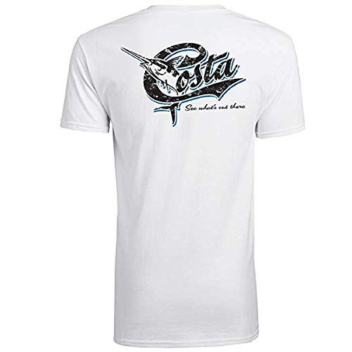 Costa Del Mar Costa Retro Short Sleeve, White, X-Large