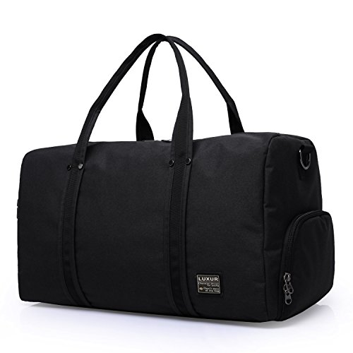 LUXUR Travel Duffel Bag Waterproof Weekender Luggage for Hiking Business Gym (45L) (Black Weekender)